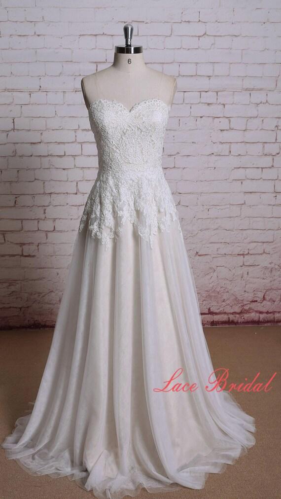 Wedding dress of sweetheart neckline ivory color lace with for Ivory color wedding dress