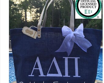 Alpha Delta Pi Licensed Sorority Mud Pie Totes with Embroidery and Matching Bow, Sorority Bag with Greek Letters, Sorority Carryall