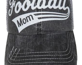 "NEW! White Glitter ""Football Mom"" Distressed Look Grey Trucker Cap Sports"