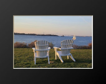 Adirondack Chairs Newport Photography Coastal Wall Art Castle Hill Rhode Island Photograph Newport Bridge Harbor Home Decor Adirondack Chair