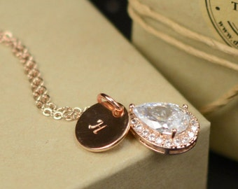 Personalized Necklace Gift Rose gold  Initial Necklace Personalized Jewelry Initial Jewelry Pendant Necklace Wedding Jewelry Gift