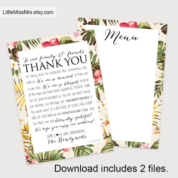 Printable Wedding Reception templates--- Thank You Note + Menu with Hawaiian print border (instant download!)