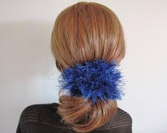 Fluffy scrunchy ponytail scrunchy hair ties hair elastic pom pom scrunchy yarn scrunchie scrunchies blue scrunchy fluffy scrunchie