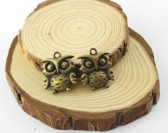 5pcs 20x25mm Antique Bronze Cute Owl Pendants--necklace Pendants