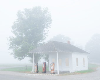 Good Gulf Gasoline Station Surrounded by Fog in Rural Ohio - Fine Art Photography Print - Wall Art Pictures