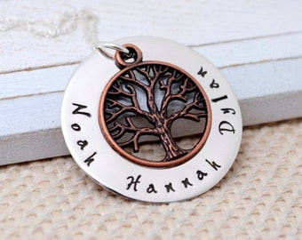 Handmade Stamped Metal Necklace - Personalized Family Tree Necklace - Sterling Silver & Copper Family Necklace - Mother's Day - Kid's Names
