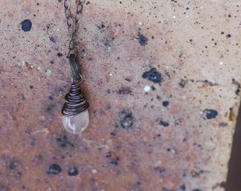 Focus - Baby Pink Umba Sapphire, Wire Wrapped in Sterling Silver on a Sterling Silver Chain, Small Briolette, Light Pink Sapphire