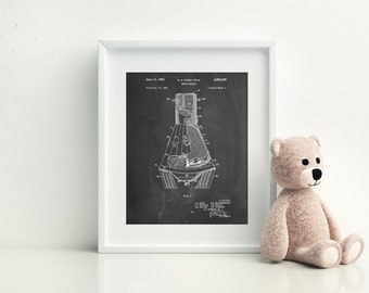 NASA Space Capsule 1959 Patent Poster, Outer Space Nursery, Space Print, Spaceship, Astronaut, Technology Art, PP0229