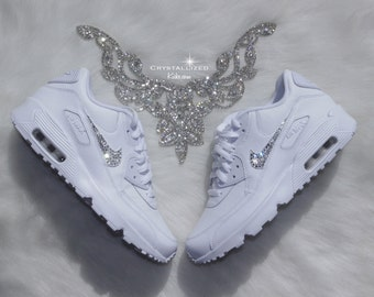 Nike Air Max 90 White Shoes Made with SWAROVSKI® Crystals - White/Cool Grey/White   Leather