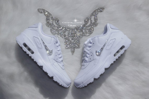 cheap Nike Air Max 90 White Shoes Made with by CrystallizedKicks on Etsy 01746fb0bb