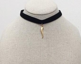 Black Choker,antler necklace,Black Velvet Choker, antler choker