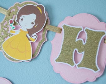 Princess Birthday Banner, Belle Inspired, Beauty and the Beast Inspired