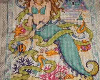 Mermaid Completed Cross Stitch - Nautical, Bathroom, Seaside