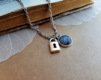 Lock Necklace, Padlock Necklace, lock choker, tiny lock necklace, layering necklace, valentines day gift, Dark Moon, Gemini, Cancer Aquarius