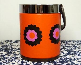 Mod orange daisy flower wine bottle cooler or ice bucket - French 70s vintage