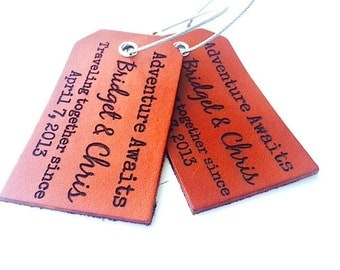 3rd Anniversary Leather Luggage Tag, Bag Tag, Adventure Awaits, Boyfriend Travel Gift, Custom Luggage tag, Leather Gift, Quote, For Him