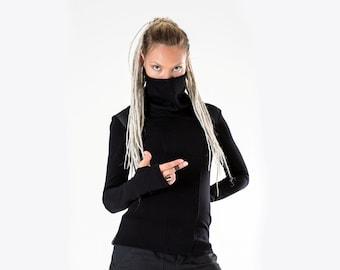 Black cyberpunk sweater turtleneck sci fi pullover long sleeves thumb holes - CS woman Q5
