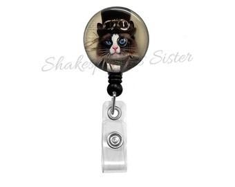 Cat Badge Reel - Steampunk Cat - Badge Reel - Retractable Badge - Cat ID Holder - Nurse Badge Reel