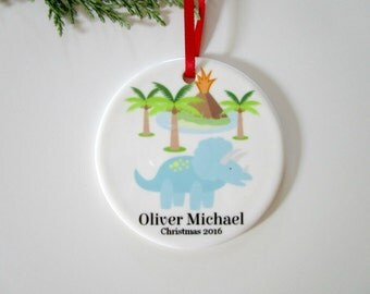 Dinosaur Christmas Ornament for Boys - Personalized Ceramic Ornament - Christmas Tree Decorations - Dinosaur Theme Decor - Triceratops