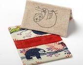 Sloth Wallet, Vegan Cardholder, Metro Card Holder Case - Red Sloths - Gifts Under 20