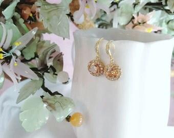 Gold CZ Earrings, Peach Cubic Zirconia, Topaz CZs, Bridal Earrings, Apricot Bridesmaid Earrings, Gold Wedding, Anniversary Gift, E2406