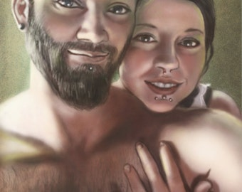 Custom Portrait, digital file, one person or a pair, mixed technique, painting from photograph, valentines gift, valentines custom portrait