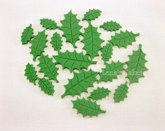 100 Christmas Fondant Toppers, Holly Leaves Fondant Cake Cupcake Toppers, Christmas Party Toppers, Christmas Edible Decorations