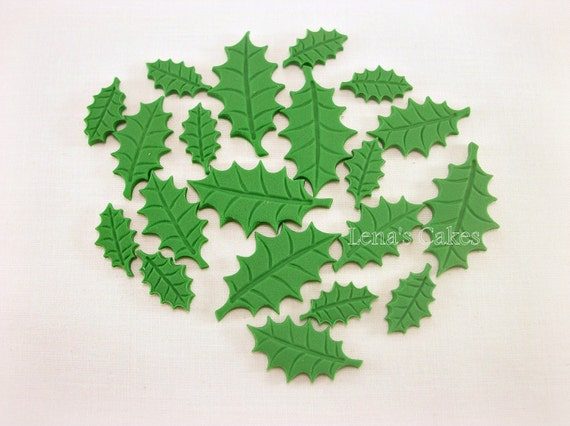 Edible Cake Decorations Holly Leaves : 100 Christmas Fondant Toppers, Holly Leaves Fondant Cake ...