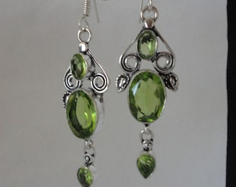 Elegant Faceted Peridot Silver Chandelier Earrings******.