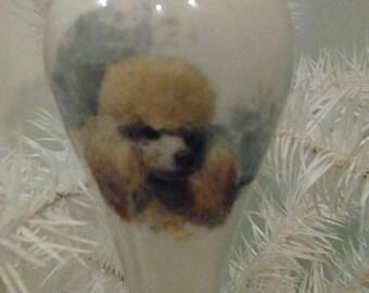 Dog Ornament Keepsake Apricot Poodle in white Porcelain gift under 20