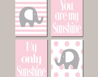 Pink Grey Baby Girl Elephant Nursery Decor WALL ART Decor You Are My Sunshine Pink Gray Nursery Wall Picture Set of 4 Prints Or Canvas