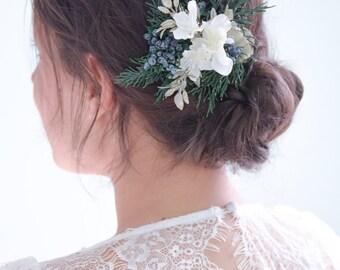 woodland wedding hair clip, bridal hair clip, floral hair clip, white flower clip, bridal flower clip, wedding flower clip - KARINE