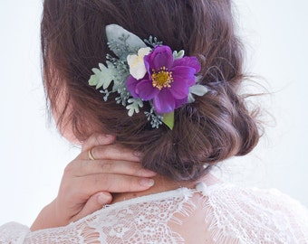 Wedding hair clip, Purple flower clip, Bridal headpiece, Purple wedding hair accessories, Floral hair clip, Rose hair clip - AZELLE