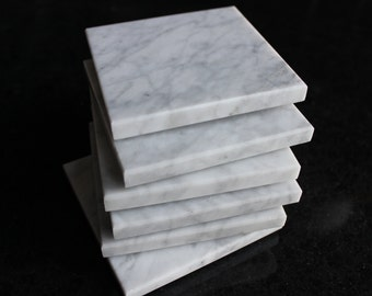 Coasters Set of Six From Natural Stone Marble Carrara Standard