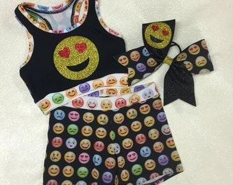 b3644338c520f Spider super hero crop top and shorts cheer set jpg 340x270 Emoji crop top  bow