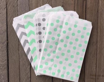 48 Mint and Silver Favor Bag--Chevron Favor Sack-- Polka Dot Candy Favor Bag-- Goodie Bag--Party Sack--Birthday Treat Sacks