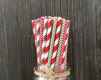 100 Red and Gold Stripe and Chevron Paper Straws- Birthday, Wedding, Baby Shower, Valentine, Holiday Party Supply- Drinking Straws