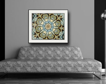 Mandala Art -Large Giclee Print in Earth tones and blue, from Original oil painting, loft decor, large art work, Boho chic by Heidi Vaught