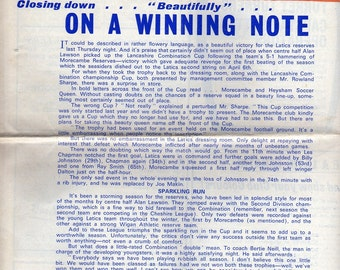Vintage Football (soccer) Programme - Oldham Athletic v Bristol Rovers, 1967/68 season