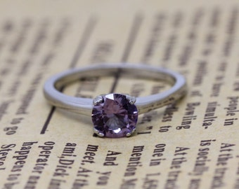 Alexandrite 1ct solitaire ring in Titanium or White Gold - engagement ring - wedding ring - handmade ring