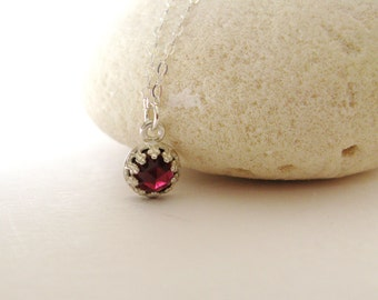 Rose cut Garnet necklace-sterling silver garnet necklace-Tiny Garnet Necklace-January Birthstone Gem stone necklace