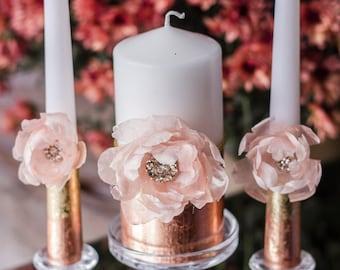 Rose Gold Wedding, Wedding Unity Candle, Personalized Unity Candle Set, Unity Ceremony, Pillar Candle, Ceremony Candle, Flowers Blush, 3pcs