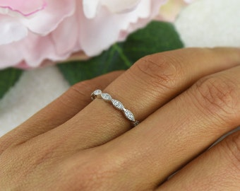 Art Deco Wedding Band, Delicate Engagement Ring, Half Eternity Ring, Man Made Diamond Simulant, Sterling Silver, Vintage Style Bridal Ring