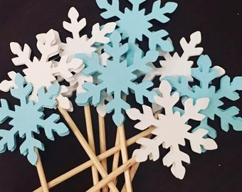 Blue & White Snowflake Food Pick/ Tooth Pick