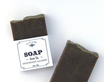 Green Tea Soap ~ Antioxidant-rich Cleanser 3.8oz ~ Gunpowder Green Tea ~ French Green Clay ~ Face and Body Organic Soap Bar