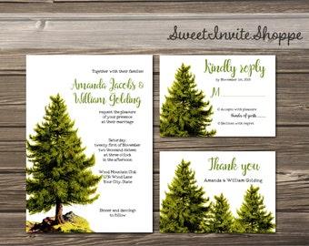 Pine Trees Wedding Invitation, Rustic Mountain Invitation, Vintage Pine Tree Wedding Invitation, Woodsy Invitation, Forest Invitation, DIY