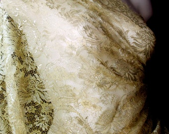 Champagne Silver Chantilly French Lace Fabric, Wedding Dress Floral Embroidery Lace for DIY Bridesmaid dress Mother's Scarf. Ready to ship