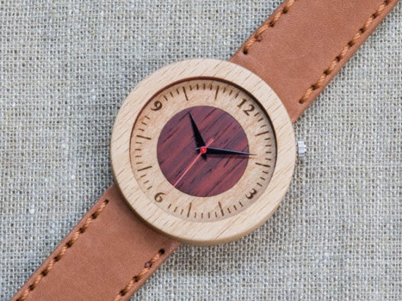 White red beech minimal wood watch , Majestic Watch,  Terracotta Genuine Leather strap + Any Engraving / Gift Box. Anniversary  gift