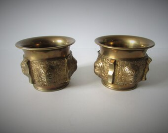 Two Small Heavy Vintage Brass Pots.