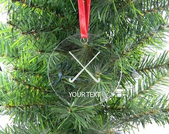 Personalized Custom Field Hockey Clear Acrylic Christmas Tree Ornament